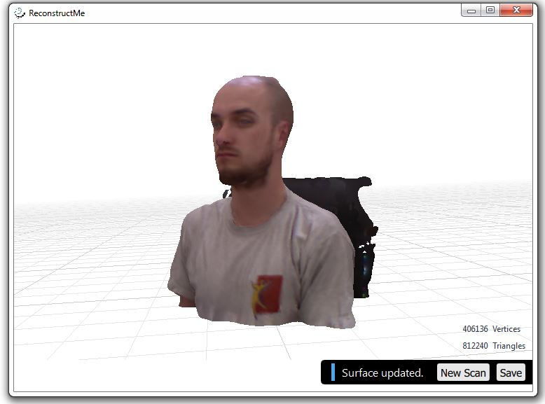 3D-Selfie scan after ReconstructMe processing